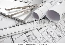 architectural plans blueprints office stock photo 50324095