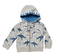 boys sweater jacket abracadabra hai in grey melange with shark