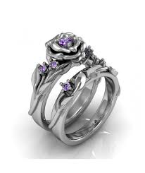 art deco floral rose amethyst silver engagement and wedding ring set