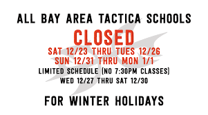 closed for the holidays all bay area locations tactica krav