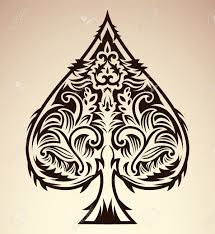 tribal style design spade ace poker playing cards vector