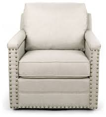 ashley fabric swivel armchair with bronze nail heads trim beige