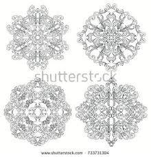 black white mandalas ethnic oriental stock vector 733731304
