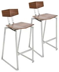 Stainless Steel Bar Stool Stainless Steel Counter Stools Walnut Set Of 2 Contemporary