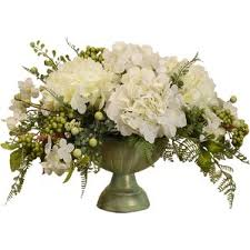 White Roses Centerpiece by Hydrangea Artificial Flowers You U0027ll Love Wayfair