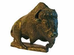 serpentine stone sculpture american bison walking sticks and