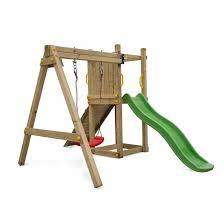 si e balancoire aire de jeux bise en bois avec toboggan 1 balançoire corde et