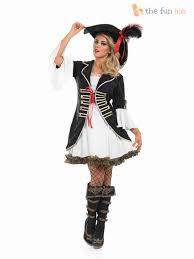 Womens Costumes Caribbean Pirate Ladies Fancy Dress Captain Buccaneer Womens