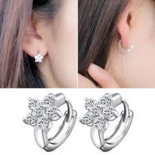 clip on earrings malaysia kuhong silver plated earrings clip earrings snowflake