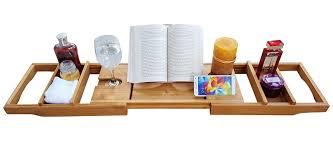 bathtub caddy with book holder amazon com purvae luxury bathtub caddy with candle book holder