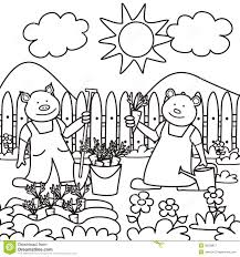 Drawings Of Children Working In A Garden Garden Coloring Pages For Preschool