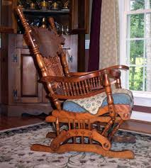 Antique Home Interior Furniture Antique Wooden Glider Rocker Plus Carpet And Curtains