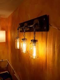 Rustic Vanity Lighting Industrial Mason Jar Light Sconce Or Rustic Vanity Light