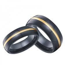 men in black wedding band tungsten wedding bands in black with 18k gold inlay