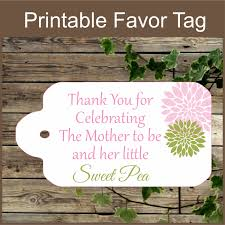 pink and green baby shower printable favor tag sweet pea baby