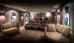 Projector Media Room - elegant oversized recliner in home theater eclectic with projector