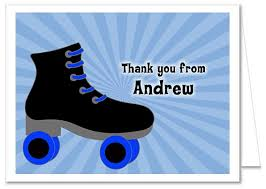 roller skating birthday party thank you note cards personalized