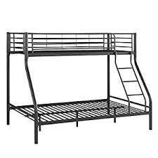 amazon com ikayaa twin over full bunk bed metal frame with ladder