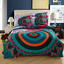 Moroccan Coverlet Teal Orange And Dark Green Vintage Boho Style Peacock Feather