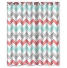 Pink And White Chevron Curtains Amazon Com Coral Light Green Gray And White Chevron Zig Zag