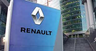 renault logo street signage board with groupe renault logo modern office