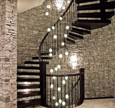 Stone Wall Sconce Contemporary Staircase With Hardwood Floors U0026 High Ceiling