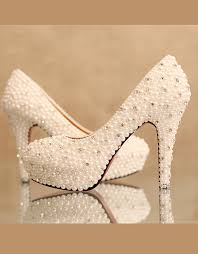 wedding shoes thick heel 10cm chunky heel closed toe with sequins pearl wedding bridal