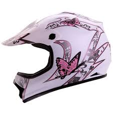 childrens motocross helmet amazon com iv2 youth kid size white pink butterfly motorsports