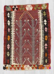 Kilim Rug Handwoven Vintage Colorful Small Turkish Prayer Kilim Rug 0300