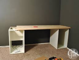 ikea computer desk hack how to make a diy plank top ikea cabinet desk