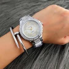 silver bracelet watches images Top brand luxury rhinestone bracelet watch women watches fashion jpg