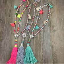 long tassel necklace images Bohemian style long tassel necklace w cow skull pendant pearls jpg