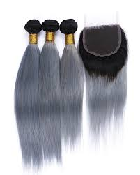 ombre hair weave african american 10 20 free part lace closure with 3 bundles black to sliver blue