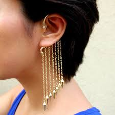 cuff earrings with chain cuff earrings with chain beautify themselves with earrings
