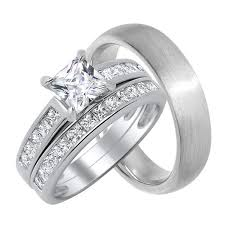 cheap wedding rings sets for him and matching his trio wedding ring set looks real not cheap
