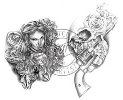 flash16 chicano tattoo design 2 with skull u0026 gun flickr