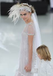 tomboy wedding dress cara delevingne is ethereal in wedding dress at chanel show in