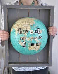 world globe home decor travel craft alert patina white u0027s repurposed globe art a crafty