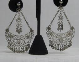 Beaded Chandelier Clip Earrings White Vintage Chandelier Earrings Etsy