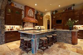 stunning mission kitchen style with l shape stone kitchen island