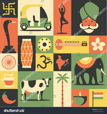 Yellow Flag With Snake India Vector Flat Illustration Icon Set Stock Vector 557040961