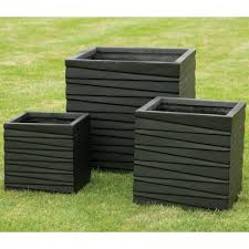 square low black set of 3 planters garden street