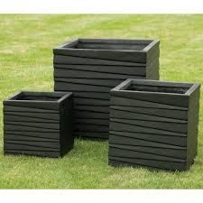 Square Plastic Planters by Square Low Black Set Of 3 Planters Garden Street