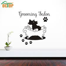 popular paw wall stickers buy cheap lots from grooming salon wall sticker diy removable paw print dog taking bath decals vinyl home