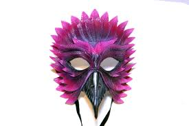 Black Raven Halloween Costume Pink Black Raven Handmade Genuine Leather Mask Masquerades