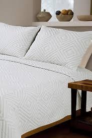 Isaac Mizrahi Sheets Melange Home Diamond Square Stitch Cotton Quilt Set White Grey