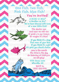 Baby Welcome Invitation Cards Templates Dr Seuss One Fish Two Fish Gender Reveal Baby Shower Invitation