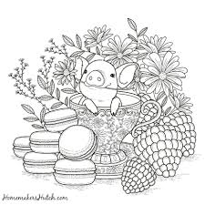 cute pigs coloring pages printable pig tea cup