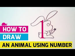 how to draw an animal using number no 1 becomes a rabbit youtube