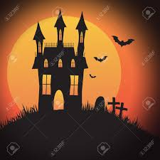 3 055 halloween haunted house background stock vector illustration